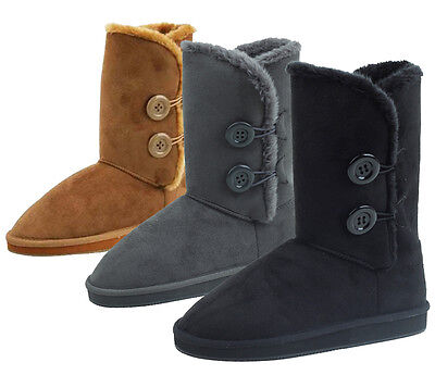 - New Women's Winter Boots Faux Suede Fashion Button Mid Calf Warm Fur Shoes Sizes