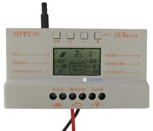 LCD 30A MPPT Solar Panel Regulator Charge Controller 12V/24V 380W/760W With USB