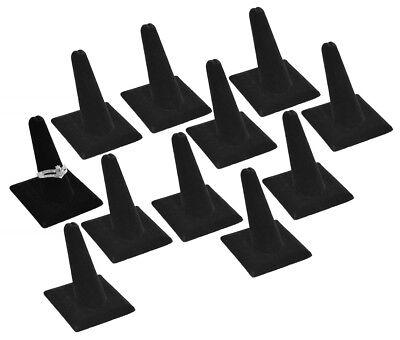 12pc Black Velvet Single Ring Jewelry Displays Stand Showcase One Finger Holders