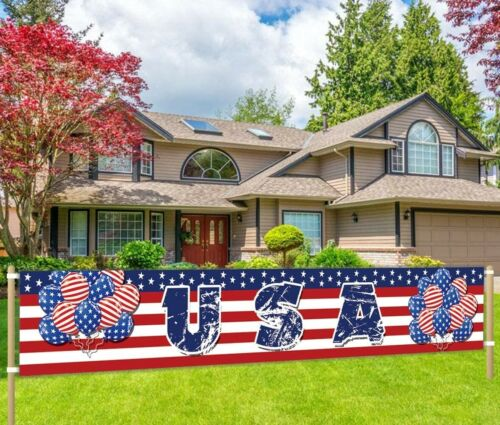 Large USA Banner Independence Day 4th of July Decoration American Party Supplies