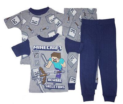 Minecraft Little/Big Boys 4pc Snug Fit Pajama Pant Set Size 4 6 8 10](Little Boys Pjs)