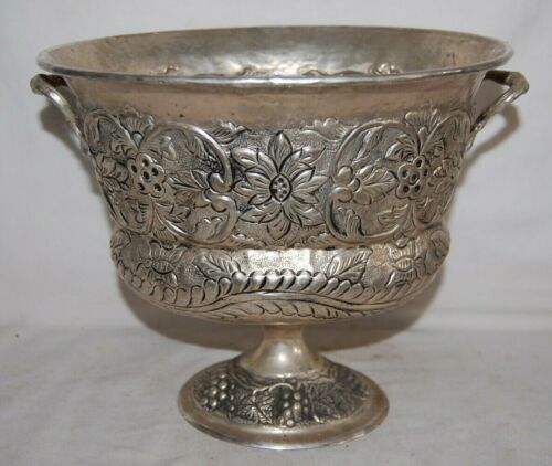 Vintage  Silver Plated Repousse Hand Hammered  Ice Bucket