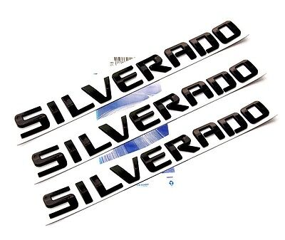 3x OEM Black SILVERADO Nameplate Emblem Badges 3D Letter GM Chevrolet New FU
