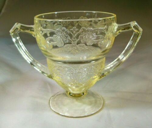 INDIANA GLASS CO. PATTERN #616 VERNON YELLOW FOOTED SUGAR BOWL!