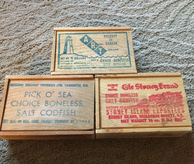3 Vintage Wood Codfish Boxes