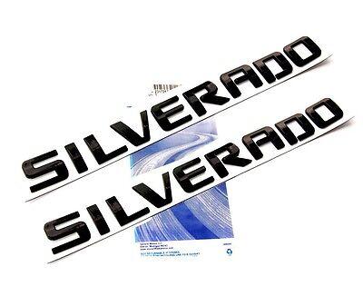 2x OEM Black SILVERADO Nameplate Emblem Badges letter 2500HD 1500 3500 WU