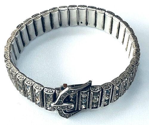 Art Deco L&M Leach & Miller Sterling Silver Bracelet w Rhinestones Buckle Clasp