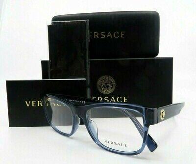 Versace  MOD 3266A 5292 Clear Blue Men Eyeglasses with Gold Medusa  & Box 55mm