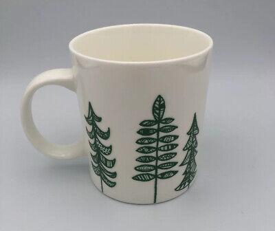 STARBUCKS Coffee Mug 2015 White Green Pine Trees Christmas Holiday Cup 12 oz