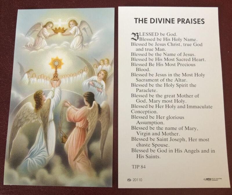Catholic Holy Card - Angels Monstrance - Blessed Sacrament - Divine Praises