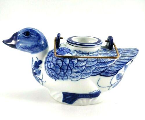 Vintage Ceramic Hand Painted DUCK TEAPOT Blue White Thailand