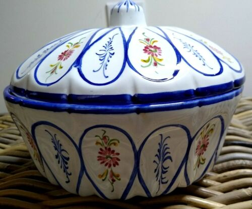 RCCL Hand Painted Covered Floral Bowl Made in Portugal