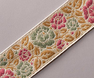 "Purple Flowers  3¾/"" wide 3 yards Wide Jacquard Ribbon Trim with Rose Turquoise"