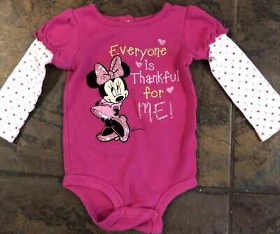 """Disney Baby Girls 12 Months Outfit Minnie Mouse """"Thankful For Me"""" Thanksgiving - Minnie Mouse Outfits For Babies"""