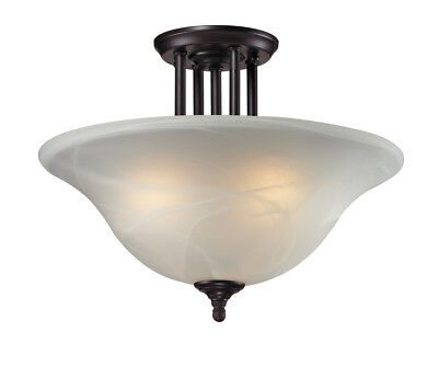 Z-Lite Athena 3-Light Bronze With White Swirl Glass Bowl Semi-Flush Mount