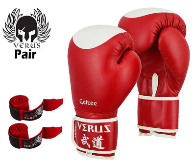Verus Boxing Gloves Red/Target Synthetic Leather Size 16oz with Red Hand Wrap