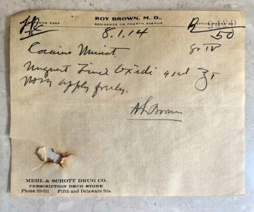 Antique 1914 Handwritten Cocaine Prescription Ephemera Leavenworth Pharmacy