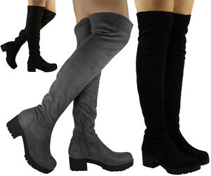 LADIES-WOMENS-THIGH-HIGH-OVER-THE-KNEE-CHUNKY-HEEL-PLATFORM-STRETCH-BOOTS-SIZE