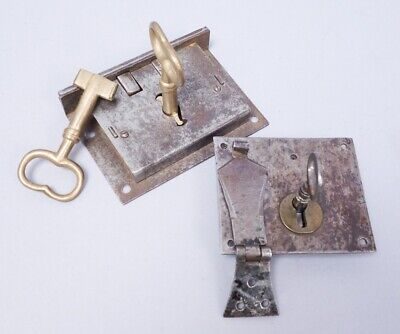 Antique 19c Lot 2 Iron Chest Hardware Lock Mechanisms w Keys AAFA