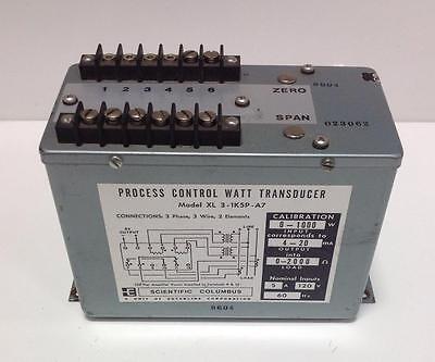 Scientific Columbus Process Control Watt Transducer Xl 3-1k5p-a7