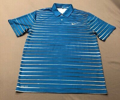 Nike Tiger Woods Collection Dri-Fit Golf Shirt Polo (M, Blue)(JL)