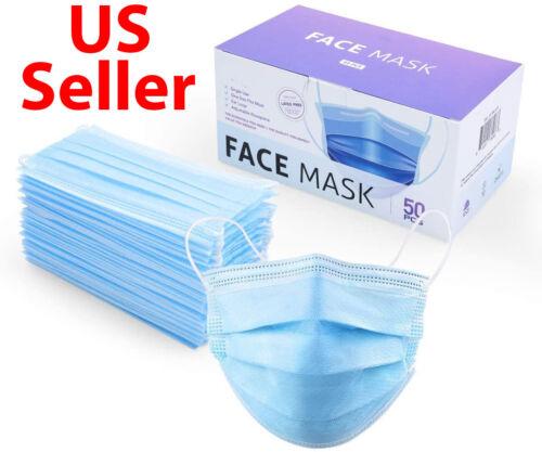 50 / 100 PCS Blue Face Mask Mouth & Nose Protector Respirator Masks USA Seller