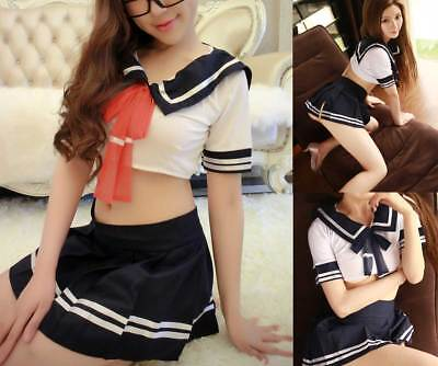 Women Sexy Japan Japanese Sailor School Girl Uniform Cosplay Halloween Costumes