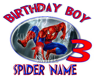New Spiderman Super Hero Movie Personalized Birthday T shirt Gift  add name Gift