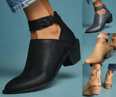 Women Lady Ankle Boots Strap Thick Chunky Heel Shoes Martin Boot Party Pump (Ankle Boot Pump)