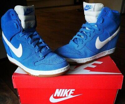 💙 Blue Suede Nike Dunk Sky Hi Top Wedge Trainers UK5 💙