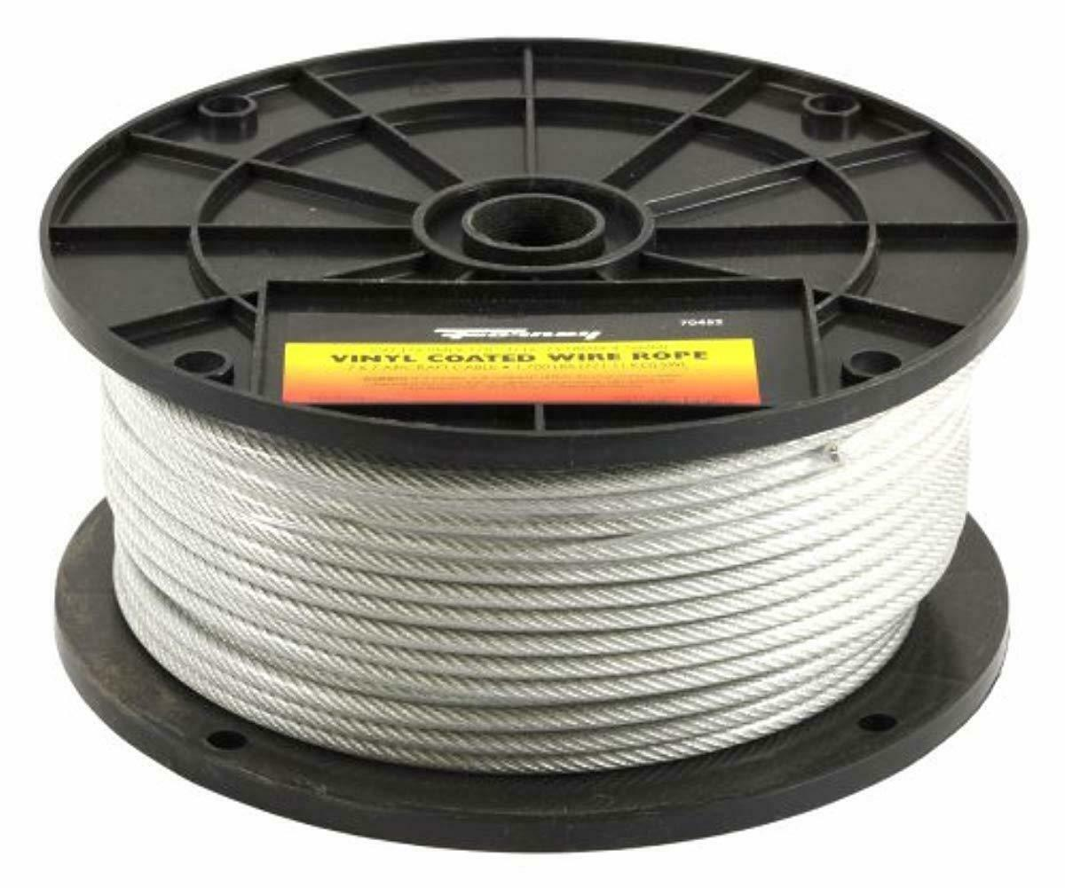 1//16 inch 100 ft Coil Black Powder Coated Galvanized Wire Rope Cable 7x7