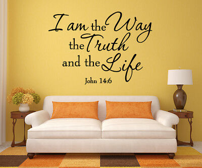 Home Decor Hooks John 14:6 Bible Verse Christian I Am The Way Vinyl Wall Decal Quote Art Sticker