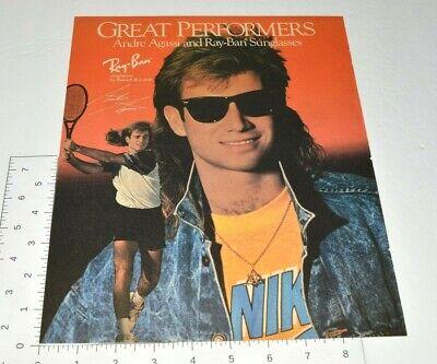1990 Ray Ban Sunglasses Tennis Star Andre Agassi NIKE Tee Vintage Print (Nike Tennis Sunglasses)