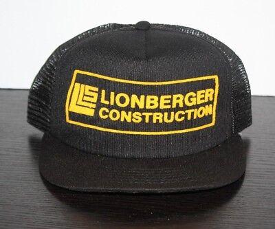 Vintage LIONBERGER CONSTRUCTION TRUCKER HAT Mesh Made USA Black Worker - Construction Worker Hat