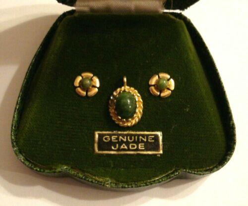 Vintage Princess Pride Creations Jade Pendant And Earrings In Original Box