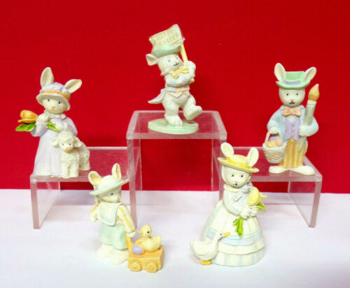 Miniature Spring BUNNY RABBITS Happy Easter Lot of 5 Resin Enesco Figurines