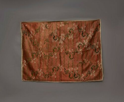 Antique French 19thC Silk textile Fabric Wall Hanging Tapestry