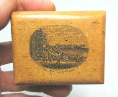 ANTIQUE MAUCHLINE SMALL WOODEN TRINKET BOX DOVER CRESCENT KENT