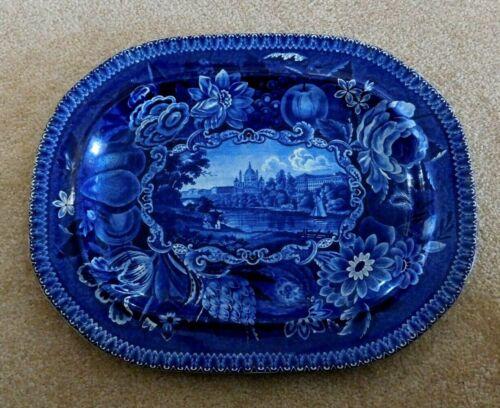 "Antique Dark Flow Blue 19"" Platter R Hall Staffordshire Transferware Select View"