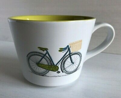 World Market Large Mug Cup Bicycle Bike with Basket Yellow/Acid Green Inside Basket Large Mug