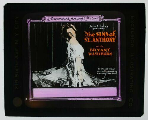 The Sins of St Anthony 1920 glass slide - Bryant Washburn - free shipping