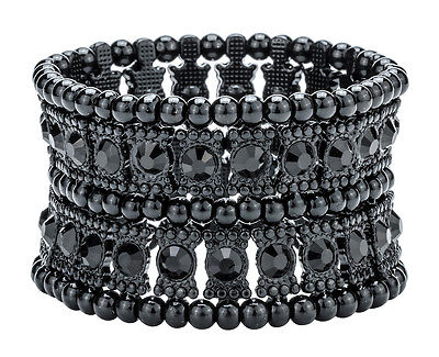 2 Row Stretch Bracelet - Stretch cuff bracelet fashion jewelry gift for women her mom A1 2 row black