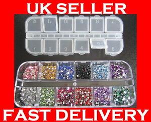 3000-Crystal-Flat-Backed-Acrylic-Rhinestones-Gems-12-Colours-1-5-mm-2-0-mm-kit