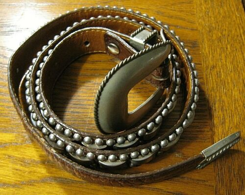 Vintage Al Beres Nickel Silver and Leather Belt Size 34 Made in USA