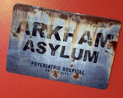 Arkham Asylum Batman Joker Metal Street Sign Replica Gotham DC - Batman Props