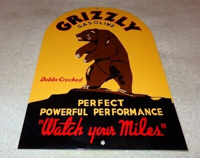 """VINTAGE GRIZZLY GASOLINE + BEAR 12"""" METAL TOMBSTONE GASOLINE OIL SIGN PUMP PLATE"""