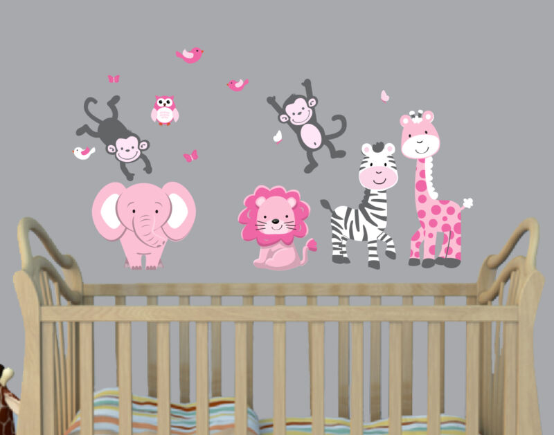 Safari Animal Decals, Girls Room Wall Art, Wall Stickers, Elephant Decal