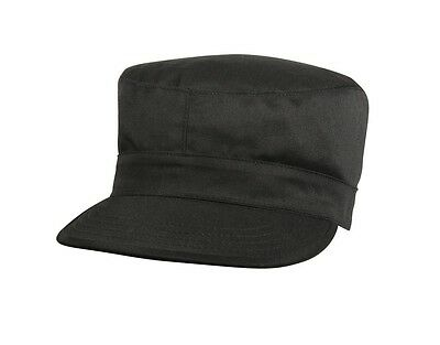 Mens Military Hat - Fatigue Cap, Black by Ultra Force police army navy combat Black Army Fatigue Cap