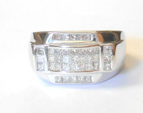 18K White Gold Square Diamonds VS2 H/I Heavy Mens Womens Ring Size 10.5