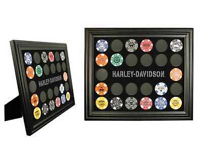 """Harley-Davidson® 26 Poker Chip Collectors Black Display Frame (13""""x11"""") 6927D"""